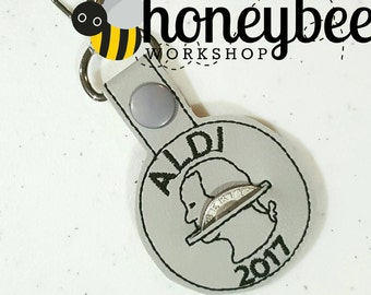 ALDI coin - cart coin - quarter keeper holder keychain - key fob - snap tab - snap keychain - diaper bag, purse - key ring gift idea