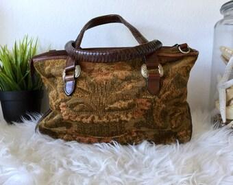 Floral Carpet Bag w Braided Leather Handles / Earth Tones Carpet Handbag / Top Handle Floral Carpet w Leather Trim / Bohemian Fabric Purse