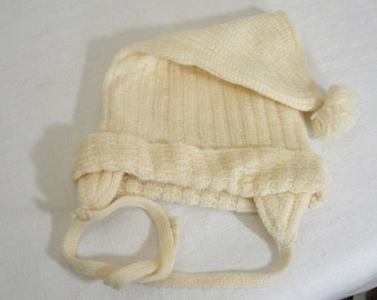 Vintage Off White Knit Baby Hat with Ear Flaps
