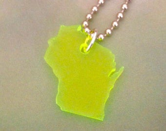 Laser Cut Wisconsin Necklace, Small Size, Neon Green Acrylic, State Jewelry