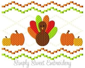 Faux Smocking Turkey Pumpkins Machine Embroidery Design