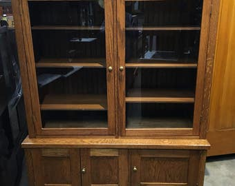 Antique Quartersawn oak custom made 2 piece book case display cabinet 52w22d22.5h67.5h72h Shipping is not free