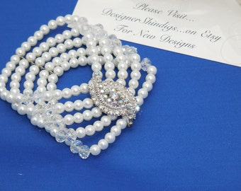Pearl Rhinestone and Crystal Bridal Stretch Layer Great Gatsby Bracelet Wedding Jewelry