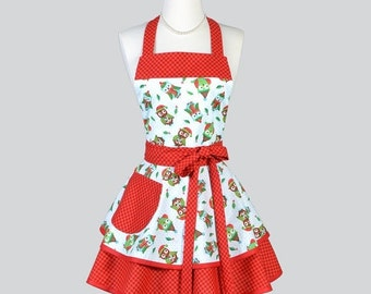 SALE Ruffled Retro Apron - Christmas Owls Teal Polka Dot with Red Check Gingham Holiday Apron Ideal Gifts to Personalize or Monogram for Her