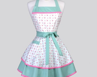 Ruffled Retro Womens Apron . Dainty Pink and Teal Roses Vintage Style Pin Up Kitchen Aprons to Personalize or Monogram