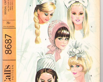 """Vintage 1967 McCall's 8687 UNCUT Craft Sewing Pattern Bridal Caps and Veils Size Small (21-1/2"""" - 22""""), Large (22-1/2"""" - 23"""")"""
