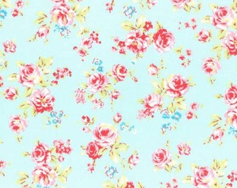 Antique Flower in Pastel Roses on Pale Blue Cotton Fabric Lecien 31421-70