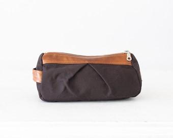 Brown toiletry case with brown leather, makeup storage case makeup case accessory bag case pouch zipper case - Estia Bag