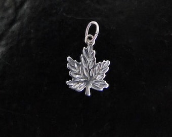 One Sterling Silver Charm Maple Leaf 10.5x14mm