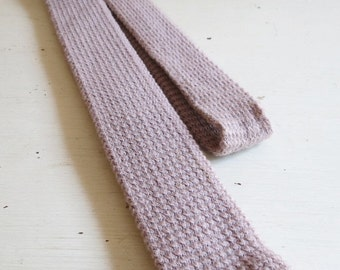 SALE Vintage Skinny Taupe Wool Knit Square End Necktie by Austin Reed