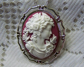 Lady Cameo Necklace Brooch, Raspberry Garnet and White Butterflies & Roses, Goddess, Woman Goddess Cameo Pendant, Silver, January Birthday