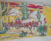 """Vintage Cowboy Cotton Table Cloth 52"""" X 45"""" Settlers"""