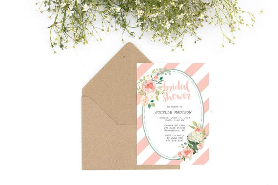 printable peach bridal shower invitation template, bridal shower invite, bridal shower invitation, peach invitation, peach invite