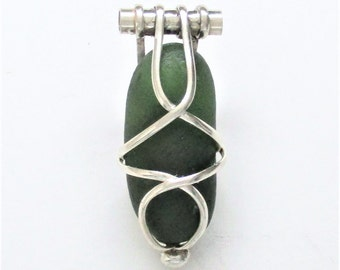 Sea Glass Jewelry - Sterling Caged Dark Green Pendant