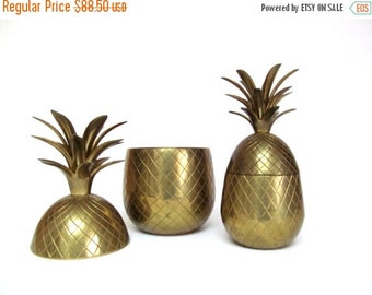 On Sale Vintage Brass Pineapple Container 9 inch