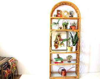 Vintage Rattan Etagere  with Glass Shelves and Arch Top