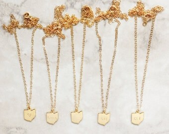 Choose Your State Necklace | Dainty Gold Necklace | 16k Gold Filled | Heart | State Name | Blank | Area Code | Initials | N60025
