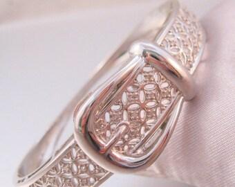 SALE Now On Ends 4/3/17 Vintage Designer Harlequin Diamond Buckle Bangle Bracelet Hinged Platinum Plated Signed CU Fine Jewelry Jewellery