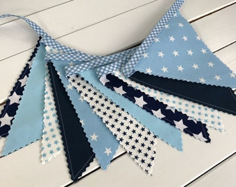 Bunting Banner,Flags,Boy Nursery Decor,Birthday Decoration,Photography Prop,Garland,Home Decor,Baby Blue,Stars,Navy Blue,Light Blue,Sky