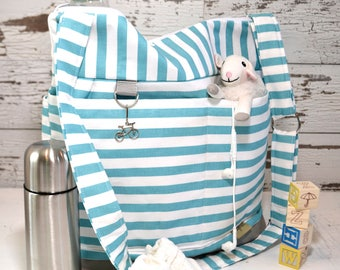 Diaper Bag by Darby Mack, our Leila tote in Turquoise stripe with Grey /  Washable and durable!  Made in the USA, in stock