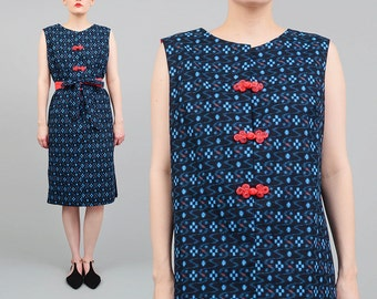 60s Shift Dress Japanese Print Sleeveless Midi Dress Cotton 1960s Mod Dress Frog Buttons Tie Belt Black Coral Blue made in Japan Medium M
