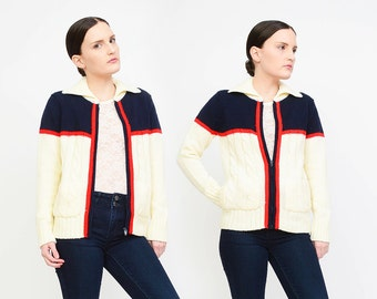Vintage 70s Color Block Jacket - Retro Cable Knit Sweater - Zip Up Cardigan - Zipper Sweater Jacket - Ivory Navy Red - Small S