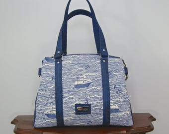 Snowdrop Satchel in Cotton and Steel Out to Sea in blue with denim blue cork