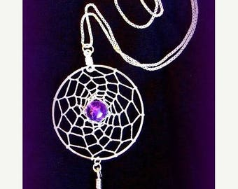 ON SALE AMAZING Amethyst  Dreamcatcher with amethyst, Sterling silver, dream catcher necklace, silver dreamcatcher necklace, Amethyst silver