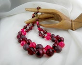 Vintage GERMANY Necklace Vintage 50s Jewelry Pink Purple Beads
