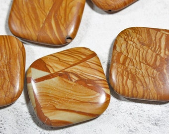 Large Picture Jasper Square Stone Beads, Destash Bargain Beads, Beading and Jewelry Making Supplies