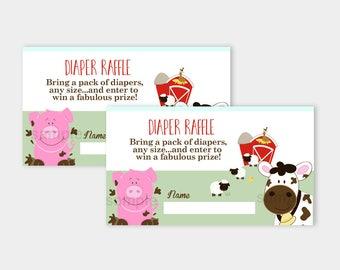 Farm Babies Barn Theme Baby Shower Diaper Raffle Card | Cow Pig Sheep Printable PDF INSTANT DOWNLOAD bs-053