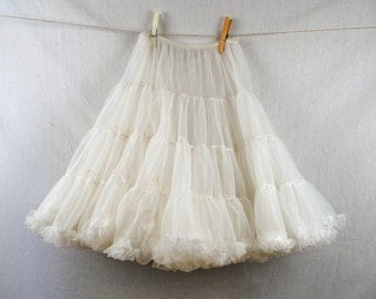 Vintage White Tulle Malco Modes Partners Please Country Western Lace Crinoline Slip - Girls Kids Children