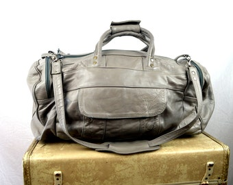 Vintage 80 Gray Patchwork Leather Duffel Bag Purse
