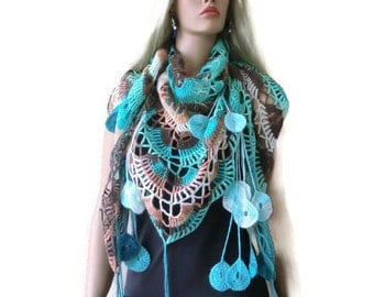 Beach colors-Bohemian scarf with fringes, Sea Blue, Turquoise,Taupe and white  Crochet lace scarf -Fine Mohair and Wool