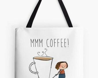 Coffee addict tote bag - caffine -tote, handbag, carry bag, shopping bag