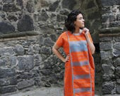 Orange and turquoise Huipil Dress Handwoven