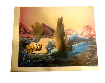 Old Vintage Magazine Pin Up  Topless Girly Art. Painted Desert Print. Paul Garrison Artist. Circa 1940s Beautiful Woman.