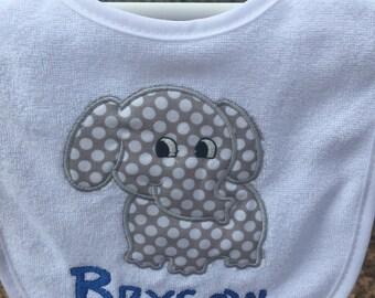 Personalized elephant appliqué  bib