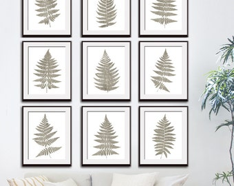Fern Fantasy Impressions (Series B9) Set of 9 - Art Prints (Featured in Stone Wash) Nature Woodland Inspired