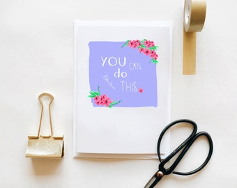 You Can Do This - Greetings Card Blank Purple Floral Self Care Positive Reminder Depression Anxiety