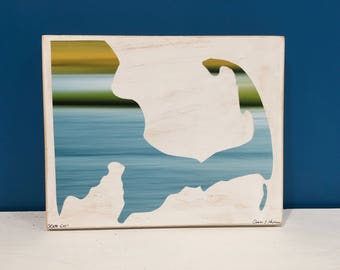 Cape Cod Map, Blue and Green, Map Art, Water, 8x10, Seascape, Wall Art