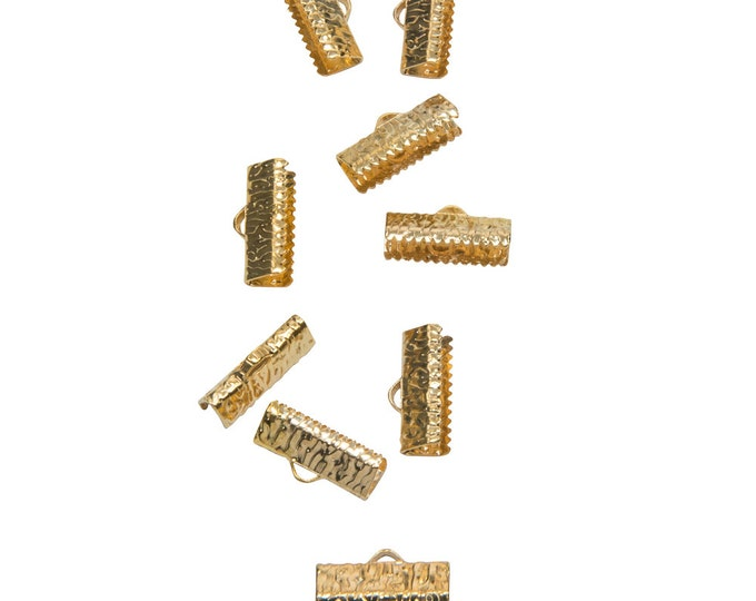 50pcs.  16mm  (5/8 inch)  Gold Ribbon Clamp End Crimps - Artisan Series