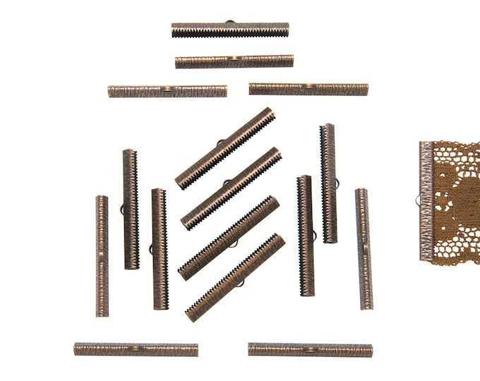 150 pieces  50mm  (2 inch)  Antique Copper Ribbon Clamp End Crimps - Artisan Series