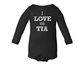 Apericots I Love Mi Tia Spanish My Aunt Cute Long Sleeve Baby Bodysuit