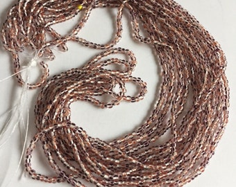 Czech Glass Seed Beads - Clear with Dark Red/ Red Stripes