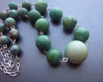 Natural Turquoise Beaded Necklace Genuine GreenTurquoise
