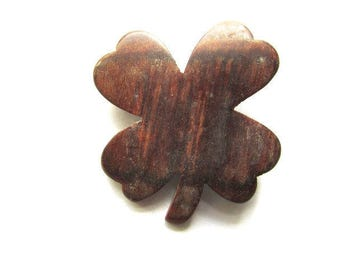 Wooden Clover Pin Brooch Shamrock Vintage Wire 4 Leaf Irish St Patricks Day Lucky Large