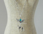Greyhound Winged Heart Birthstone Necklace