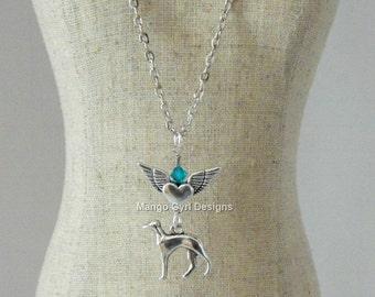 Greyhound Silver Winged Heart Birthstone Necklace, Greyhound Birthstone Necklace, Greyhound jewelry, Greyhound Gifts, Greyhound