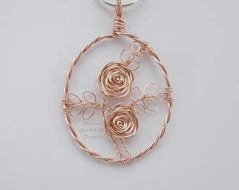 Rose Gold roses necklace, rose gold pendant MADE TO ORDER wire rose pendant, wire rose necklace, rose gold rose, copper anniversary, roses